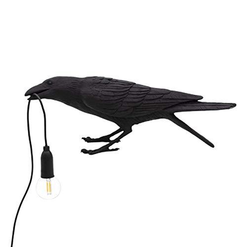 BALLYE Lámpara de Mesa de Cuervo, lámpara de Pared de pájaro, lámparas de Mesa LED, Resina, Dormitorio, lámpara de Escritorio, lámpara de Noche, Aplique de Pared, iluminación Interior