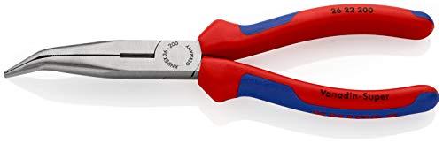 KNIPEX 26 22 200 Flachrundzange mit Schneide (Storchschnabelzange) schwarz atramentiert mit Mehrkomponenten-Hüllen 200 mm