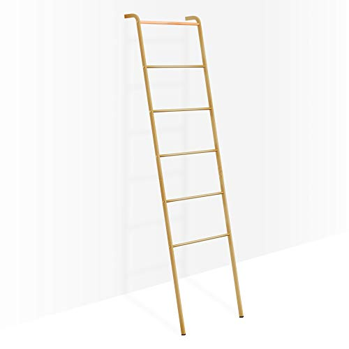 Brightech - Mila Decorative Ladder - Sturdy Metal and Wood Accessory for Indoor Outdoor Garden Porch Patio - Antique Brass