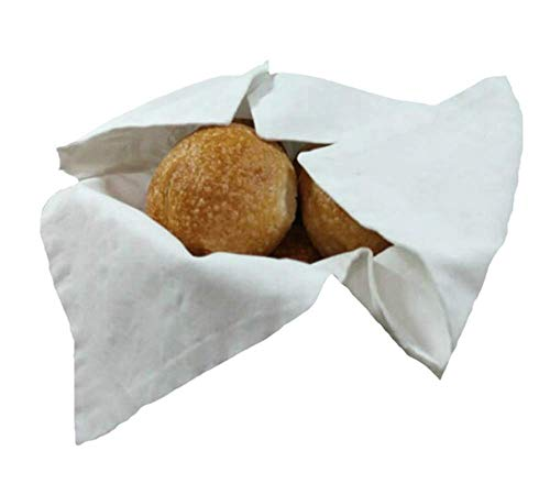 Basket Liner and Warmer for Breads and Rolls in White on White Fabric