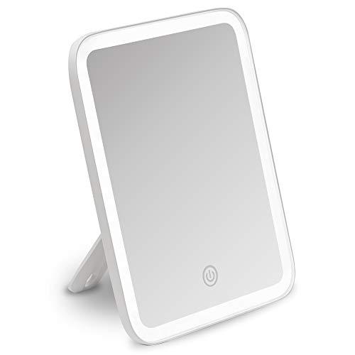 Fancii Tragbarer LED Schminkspiegel, Reisespiegel mit Licht, 3 Farbeinstellungen und 10 Fach Vergrößerungsspiegel, Beleuchteter Make-Up Spiegel mit Beleuchtung, dimmbares, Berührungssensor (Aura Go)