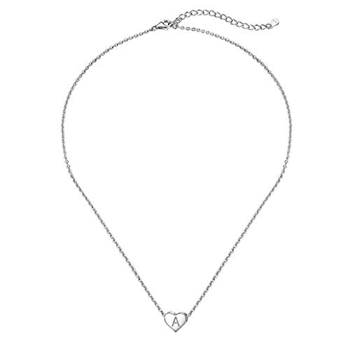 Initial Necklace Women Heart Letter A Pendant Necklaces Sterling Silver Elegant Jewelry for Girlfriend with Sturdy Rolo Chain