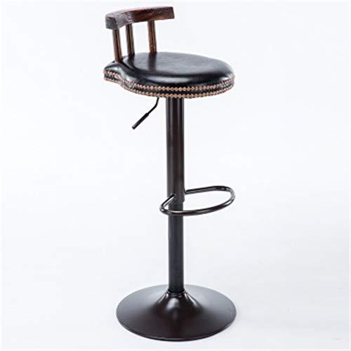 NYDZ Europese stijl, houten kussen, kan worden opgesteld en gekanteld, van leer, creatief, hoge stoel in Europese stijl van hout, vintage bar stool hoogte 60-80 cm