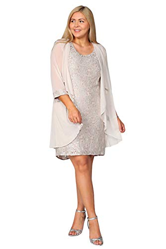 R&M Richards Short Mother of The Bride Dress (12, Champagne)