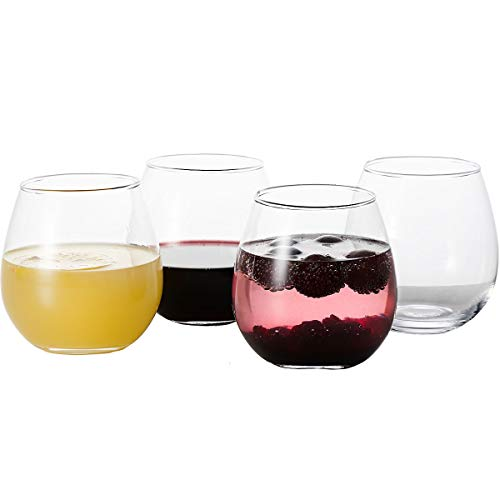 GoodGlassware Stemless Wine Glasses (Set Of 4) 15 oz - Crystal Clear Clarity, Classic Bowl Design...