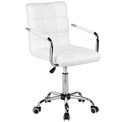 Yaheetech Bürostuhl Ergonomischer Schreibtischstuhl Drehstuhl Arbeitshocker mit Rollen Armlehne Chefsessel höhenverstellbar aus Kunstleder Weiß