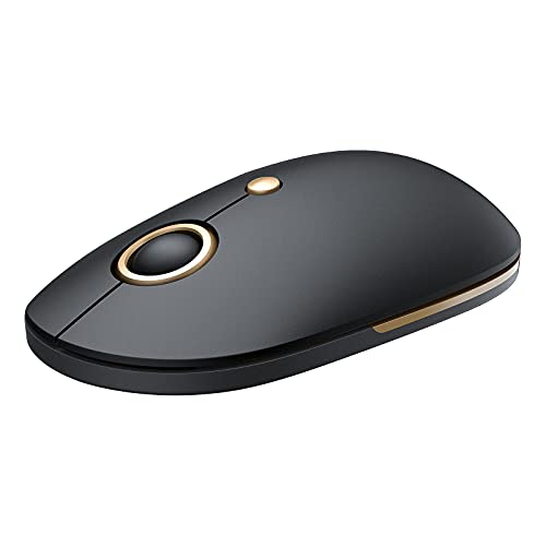 Vic Tech CA Mouse for Laptop, 2.4G Slim Computer Mouse with USB Receiver and 5 Adjustable Levels, Silent Mouse for Laptop Windows Mac PC Notebook (Black and Gold)