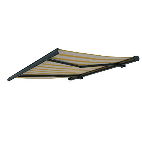 paramondo Markise Kassettenmarkise Curve Gelenkarmmarkise Balkon Terrasse Sichtschutz, mit jarolift Funkmotor, 4 x 3 m, Gestell: Anthrazit, Stoff: Multi, Beige-Gelb