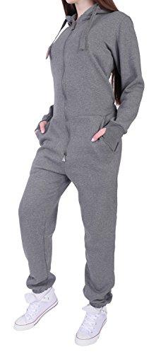 9C23 Finchgirl FG181 Damen Jumpsuit Overall Einteiler Jogging Anzug D.Grau M - 2