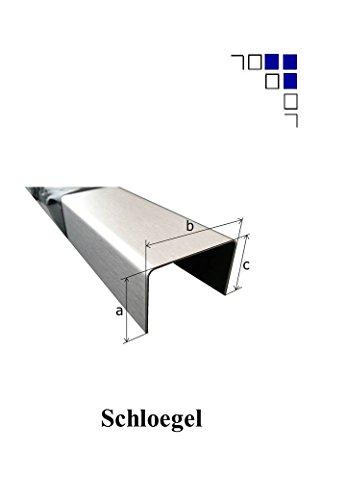 1mm U-Profile Edelstahl gebürstet 1.4301 (15x20x15mm 1000mm Länge)