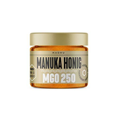 Manuka Honig 250+ MGO im hochwertigen Glas - Direkt vom Imker aus Neuseeland - zertifizierter Methylglyoxal-Gehalt (150g) - inklusive GRATIS Manuka Guide