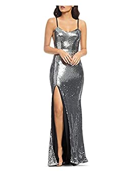 Dress the Population Women s Ingrid Sleeveless Sequin Long Gown with Slit Dress Silver X-Small