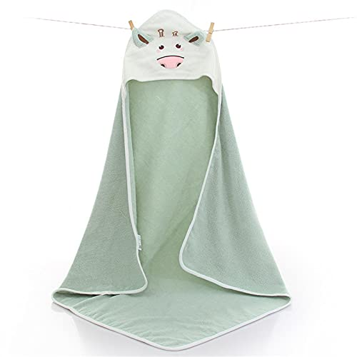 Giapow Premium Baby Hooded Towel,Ultra Absorbent Soft Baby Unisex Towels,Cute Animal Face Baby Bath Towel Perfect for Infant and Toddler,Coral Green Color