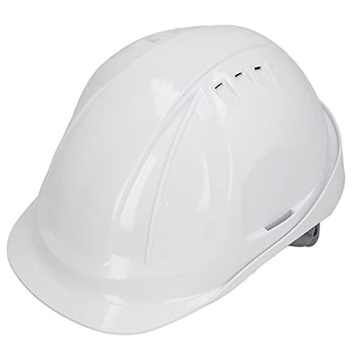 Casco de seguridad, protección para la cabeza, casco ventilado con franja reflectante, estilo de gorra ajustable tipo M para ingeniería de obras en la construcción de ferrocarriles, color blanco