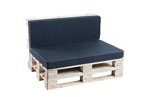 Palettenkissen Sitzkissen, Rückenkissen Schaumkissen glatt PFK (Rückenlehne 120x50, Dunkelblau)