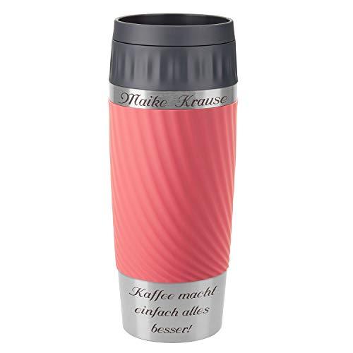 Emsa Thermobecher Travel Mug Easy Twist Koralle 360 ml mit Rund-Gravur gelasert Edelstahl Soft-Touch-Manschette mit Komfort-Drehverschluss