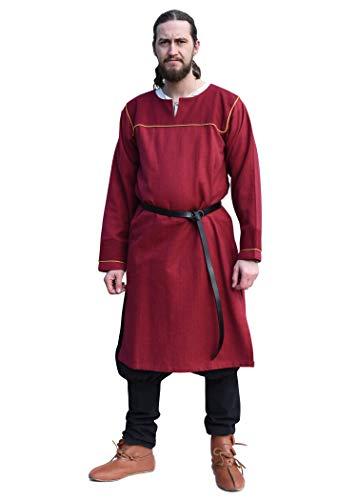 Battle-Merchant Tunica vichinga Ove con Motivo a Spina di Pesce - Ideale per Giochi di Ruolo dal Vivo (Larp), Costumi medievali - Borgogna - XL