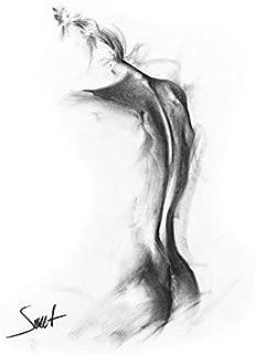 Erotic Art, Nude Girl, Naked Woman Art, Figurative Drawing, Sexy Decor, Erotic Print, Erotic Nude
