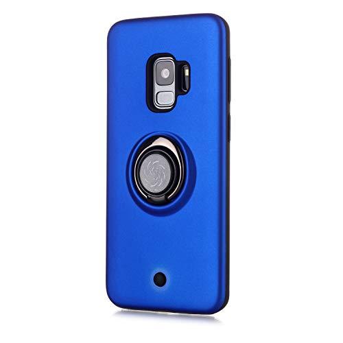 Coque Samsung Galaxy S9,Bouton de décompression,Gyroscope Rotatif,PC + TPU Housse résistant aux Chocs avec Support à Anneau Rotatif à 360 degrés -Bleu Marin