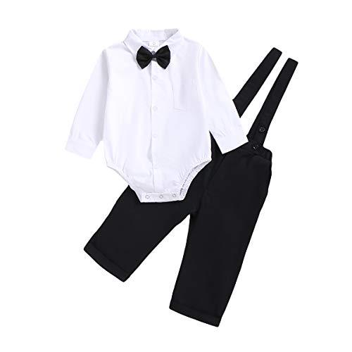 OPAWO 3-teiliges Gentleman-Outfit-Set, Hemd + Fliege + Hosenträger für Baby, Geburtstag, Party, Kuchen, Zerbrechen, Fotoshooting, Hochzeit, Taufe Gr. 62, Lang-weiß+schwarz
