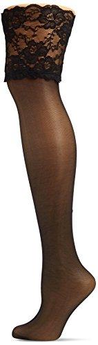 Hudson Glamour 20 Halterlose Strümpfe, transparente Nylonstrümpfe für Damen in 20 den Optik, Feinstrümpfe glänzend & verführerisch (schwarz), Menge: 1 Paar