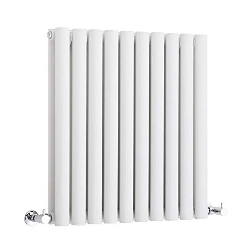 Radiador de doble panel vertical ovalado, 600 x 590 mm, color blanco, 3880BTU