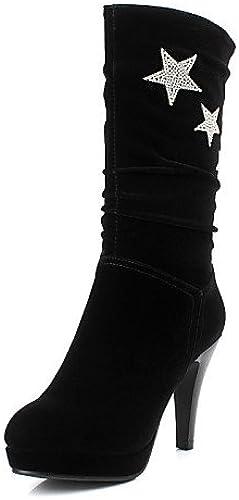 XZZ  Chaussures Femme - Décontracté - Noir - Talon Aiguille - Bout Arrondi - Bottes - Similicuir