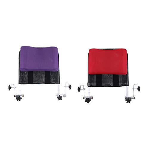 Yeeseu Almohada de soporte del cuello del reposacabezas de la silla de ruedas universal de 2 piezas - altura ajustable y almohada de cojín de malla transpirable - púrpura + rojo