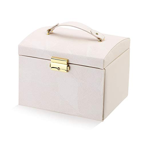 Organizador de Caja de joyería Caja de joyería Tipo de cajón de Gran Capacidad Almacenamiento de Cuero Caja de joyería Pendiente Anillo Collar con Reloj Mirror Organizador de joyería