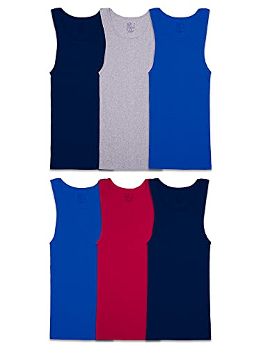 Fruit of the Loom Men's Tag-Free Tank A-Shirt, 6 Pack-Assorted Colors, Small