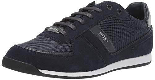 Hugo Boss Men's Akeen Suede Sneaker, Dark Blue, 9 M US