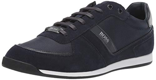 Hugo Boss BOSS Green Men's Akeen Suede Sneaker, Dark Blue, 12 M US