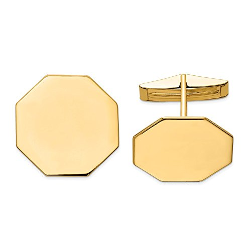 Diamond2deal Herren-Manschettenknöpfe 14 Karat Gelbgold achteckig