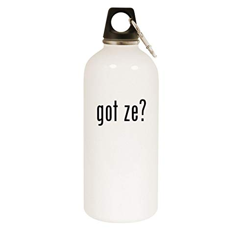got ze? - 20oz Stainless Steel White Water Bottle with Carabiner, White