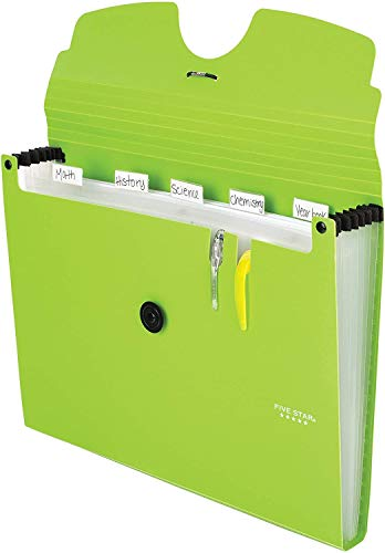 Five Star 6-Pocket Expanding File Organizer, Plastic Expandable Letter Size File Folders with Pockets, Home Office Supplies, Portable Paper Organizer for Receipts, Bills, Documents, Lime New (72925) Photo #3