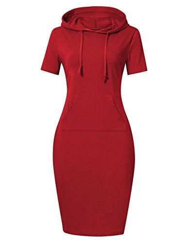 MISSKY Red Short Sleeve Pocket Knee Length Slim Casual Dresses for Women (M,Red)