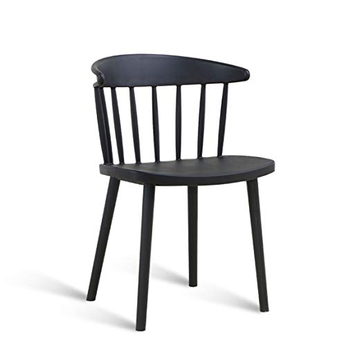 PLL moderne eetkamerstoel, bureaustoel, kunststof rugleuning vrijetijdsstoel, Amerikaanse caféstoel, zwart