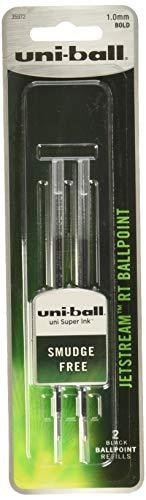 uni-ball Jetstream RT Ballpoint Pen Refills, Bold Point (1.0mm), Black, 2 Count - 35972