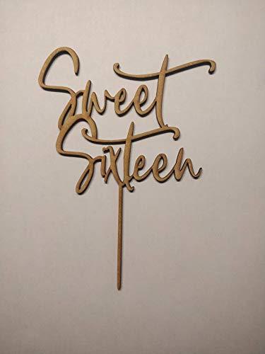 LaserKris Tortenaufsatz, Holz, 3 mm, MDF Sweet Sixteen Birthday Cake Topper Party Dekoration blanko