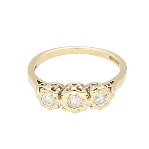 Anillo de oro amarillo de 9 quilates de 0,25 quilates con diamantes de tres piedras (tamaño M 1/2) 14 x 5 mm | Anillo de lujo para mujer