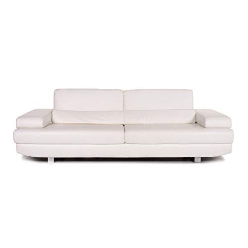 Ewald Schillig Leder Sofa Weiß Dreisitzer Funktion Couch #13645