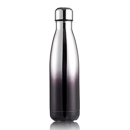 Xiaobing 304 stainless steel sports bottle creative rubber paint insulation cup colorful outdoor water bottle -Silver black-500ml-G187