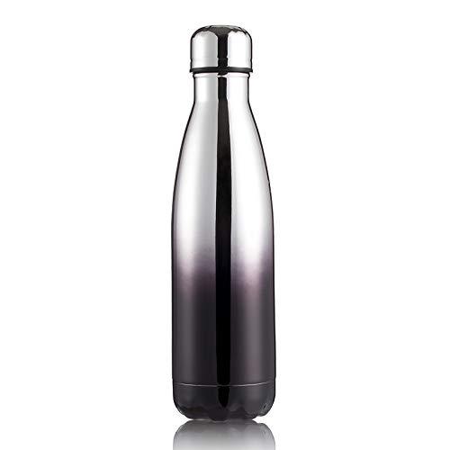 Xiaobing Botella Deportiva de Acero Inoxidable 304 Taza de Aislamiento de Pintura de Goma Creativa Botella de Agua Colorida para Exteriores-Negro plateado-500ml-G187