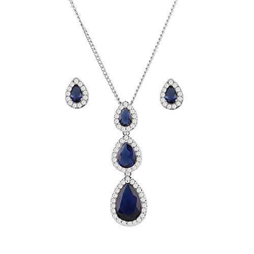 Juego de joyas de cristal para mujer, collar y pendientes con caja elegante, conjunto de joyas de boda, oro blanco brillante..