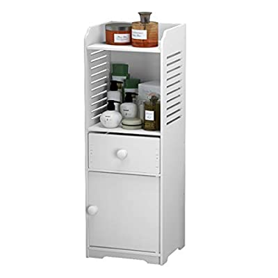 Rerii Bathroom Storage Cabinet, Free Standing Small Floor Bathroom Organizer, Side Toilet Cabinet with Drawer and Door, White by Rerii