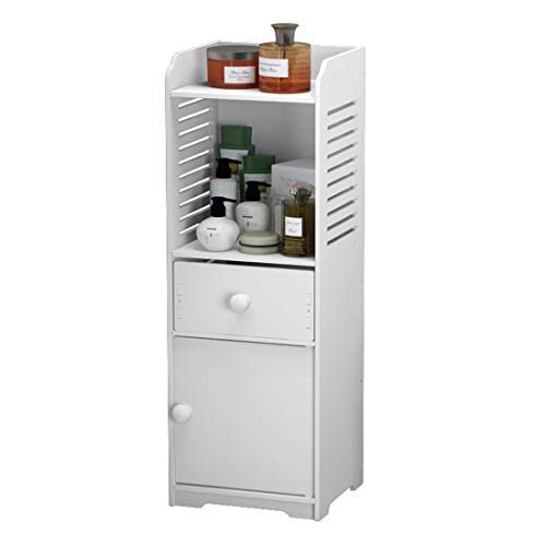 Rerii Bathroom Storage Cabinet, Free Standing Small Floor Bathroom Organizer, Side Toilet Cabinet with Drawer and Door, White