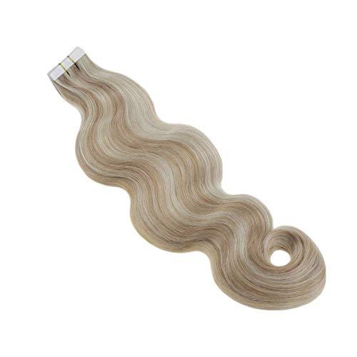 Runature Tape Hair Extensions Echthaar 16 Zoll Körper Wellig Hervorgehoben Mit Klavierfarbe 12 Dunkelblond Mit Farbe 613 Gebleichtes Blond (50g, 20Pcs) Tapes Haarverlängerung