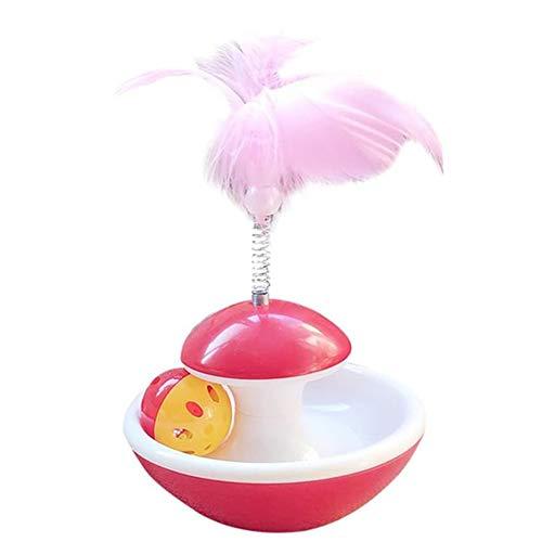 QDCITT divertido vaso de bola rascador juguete interactivo con pluma para gato de mascotas, productos para mascotas al por mayor y al por menor (rojo L)