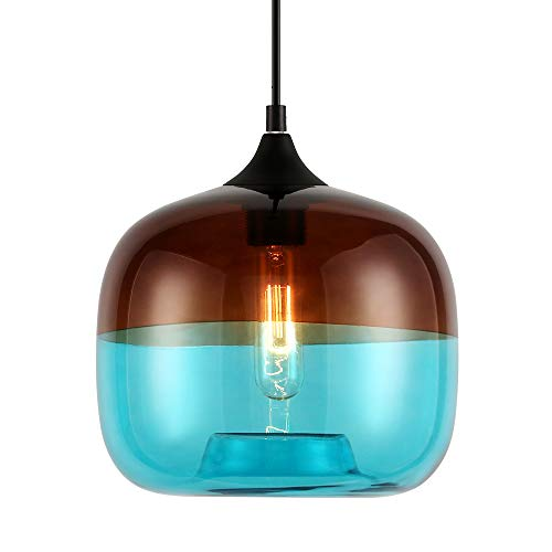 Europa Moderne Loft Opknoping Glazen Hanglamp Armaturen E27 LED Keuken Restaurant Bar Woonkamer Slaapkamer (Koffie Blauw)