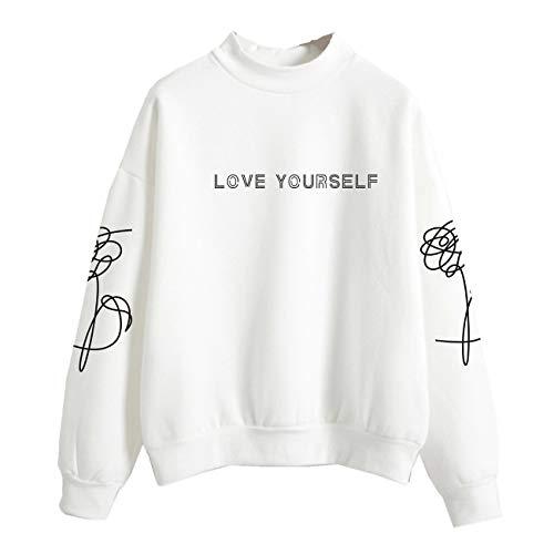 SERAPHY WOOKIT Unisex Kapuzenpullover Love Yourself Rollkragen Sweatshirts für Armee Suga Jimin Jin Jung Jook J-Hope Rap-Monster V Weiß S